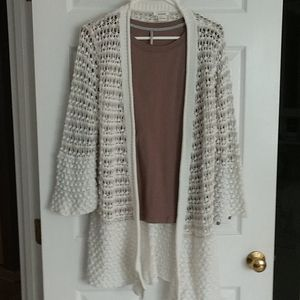 Sundance long cardigan w/tee, sz Medium